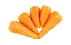 Chantenay carrots isolated on white background. Detailed studio shot Stock Photos