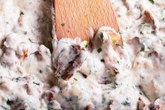 Chanterelle cream sauce on the pan Royalty Free Stock Photo