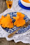 Chanterelle mushrooms in blue plates Royalty Free Stock Image