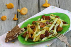 Chanterelle mushrooms with potatoes. Fried potatoes with chanterelle mushrooms. Shallow DOF royalty free stock photo