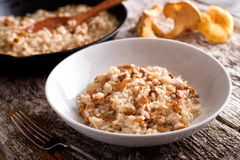 Chanterelle Risotto. A bowl of delicious chanterelle risotto on a rustic wood table top royalty free stock images