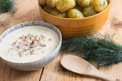 Chanterelle sauce. Boiled fresh potatoes with chanterelle sauce Royalty Free Stock Photos