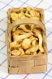 Chanterelles in a Basket. Basket full of chanterelles on white background stock photography