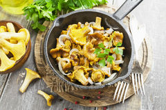 Chanterelles frites Photos stock