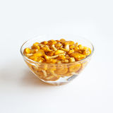 Chanterelles in a glass bowl Stock Photo