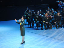 Chanteur célèbre Dong Wenhua-theFamous de militaires et classicconcert Photos libres de droits