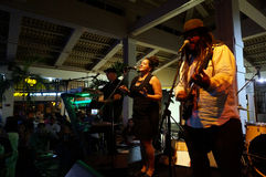 Chanteur de bande de conseils, Keith Batlin, chant et confitures dessus Photo libre de droits