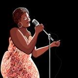 Chanteur de jazz sur le fond noir Image stock