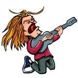 Chanteur de roche de dessin animé avec la guitare Photos stock