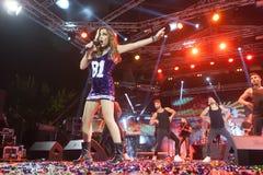 Chanteur Despina Vandi exécutant au festival du nord FOU d'étape Photos stock