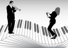 Chanteur et trompette illustration de vecteur