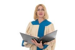 Chanteur féminin dans l'horizontal de choeur d'église Photo libre de droits