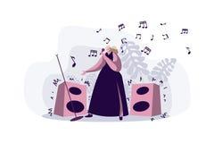 Chanteur professionnel exécutant la chanson, jeune femme dans le microphone de participation de robe, vedette de pop féminin, kar illustration stock
