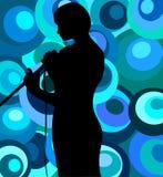 Chanteur sur le rétro fond illustration de vecteur