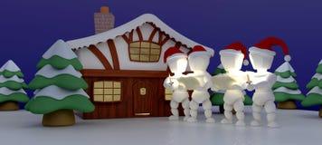 Chanteurs de Carol à la cabine de l'hiver illustration stock