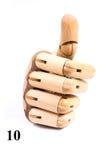 Chantez du numéro dix de la main en bois image stock