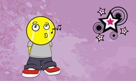 Chantez le fond de cadre de tableau d'expression de bande dessinée de chef de boule d'enfant de tennis illustration stock