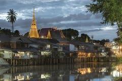Chanthaboon-Ufergegend in der Dämmerung Stockbilder