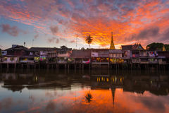 Chanthaburi Old Town Waterfront on sunset. Village near river on sunset background, Chanthaburi Old Town Waterfront ,Landmark with old building village in Royalty Free Stock Images