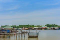 CHANTHABURI, TAJLANDIA: KWIECIE? 15, 2019 sceneria wioska rybacka ziemi wioska na Kwietniu 15,2019 przy uderzeniem Chan, Khlung, fotografia stock