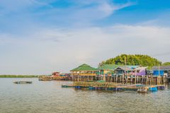 CHANTHABURI, THAILAND: APRIL 15, 2019 Scenery of Fishing village The No-Land Village on april 15,2019 at Bang Chan, Khlung,. Chanthaburi, Thailand royalty free stock images