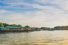CHANTHABURI, THAILAND: APRIL 15, 2019 Scenery of Fishing village The No-Land Village on april 15,2019 at Bang Chan, Khlung,. Chanthaburi, Thailand stock photo