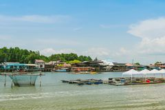 CHANTHABURI, THAILAND: APRIL 15, 2019 Scenery of Fishing village The No-Land Village on april 15,2019 at Bang Chan, Khlung,. Chanthaburi, Thailand royalty free stock photos
