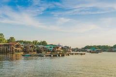 CHANTHABURI, THAILAND: APRIL 15, 2019 Scenery of Fishing village The No-Land Village on april 15,2019 at Bang Chan, Khlung,. Chanthaburi, Thailand stock images