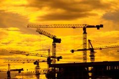 Chantier de construction au lever de soleil Image libre de droits