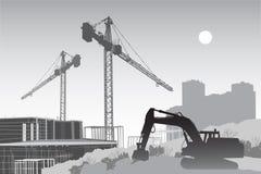 Chantier de construction avec des grues illustration de vecteur