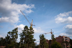 Chantier de construction avec des grues Image stock