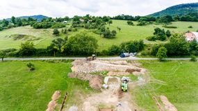 Chantier de construction Base concrète de construction pour une nouvelle maison Images stock