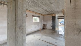 Chantier de construction d'une maison unifamiliale Photographie stock