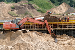 Chantier de construction d'une nouvelle route Images stock