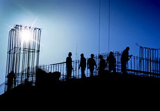 Chantier de construction dans le bleu Photo stock