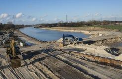 Chantier de construction de canal de l'eau photographie stock libre de droits