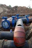 Chantier de construction de canalisation images stock