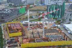 Chantier de construction de City Telecom Limited dans la zone industrielle de Tseung Kwan O, Hong Kong images libres de droits
