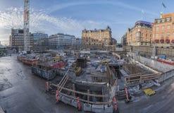 Chantier de construction de métro de Copenhague Image libre de droits