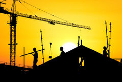 Chantier de construction de silhouette Photographie stock