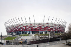 Chantier de construction de stade national en Pologne Images libres de droits