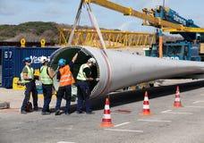Chantier de construction de turbine de vent photographie stock libre de droits