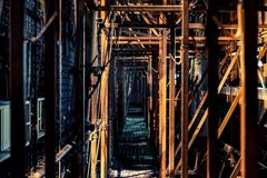 Chantier de construction du bâtiment le plus grand dans Pékin image libre de droits