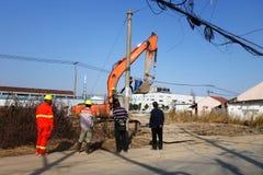 Chantier de construction en dehors de ville de Changhaï en Chine Photographie stock libre de droits