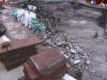 Chantier de construction de la nouvelle rénovation de carrelage de plancher photo libre de droits