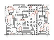 Chantier de construction - ligne composition en conception illustration de vecteur