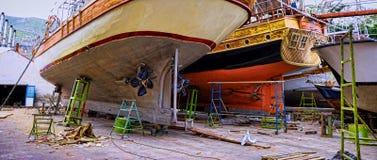 Chantier de construction navale, Kalymnos Grèce Photo stock