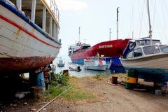 Chantier de construction navale, Skiathos, Grèce Photos stock