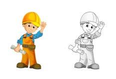 Chantier de construction - page de coloration avec la prévision illustration de vecteur
