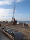 Chantier de construction par la mer Photos stock